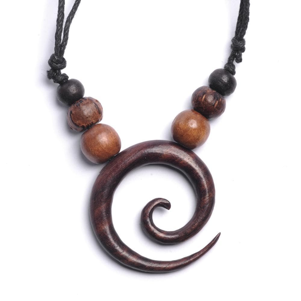 Wood Brown Round Spiral Tribal Bead Adjustable Necklace