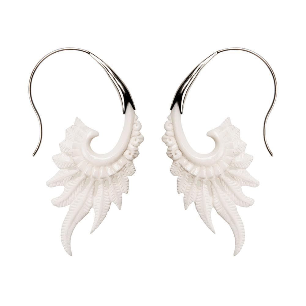 Sterling Silver Bone Wing Feather Earrings