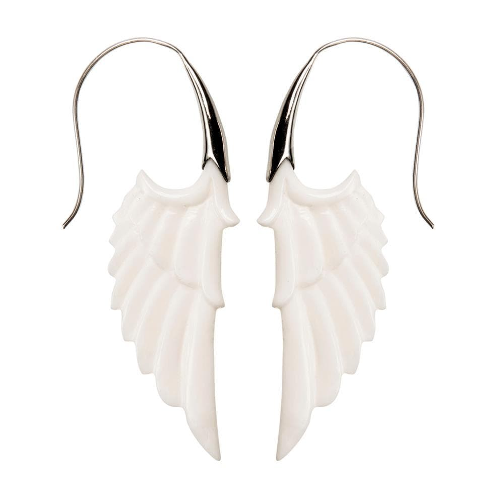 Load image into Gallery viewer, Sterling Silver Bone White Angel Wing Feather Earrings