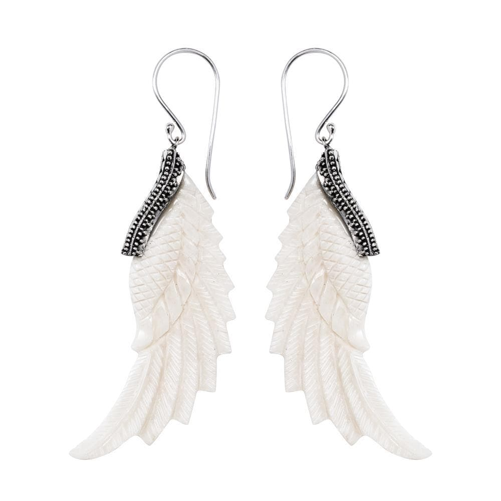 Hand Carved Bone Eagle Wing Earrings Natural Jewellery Tribal Jewelry 81stgeneration