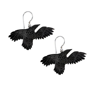 Sterling Silver & Carved Horn Eagle Earrings