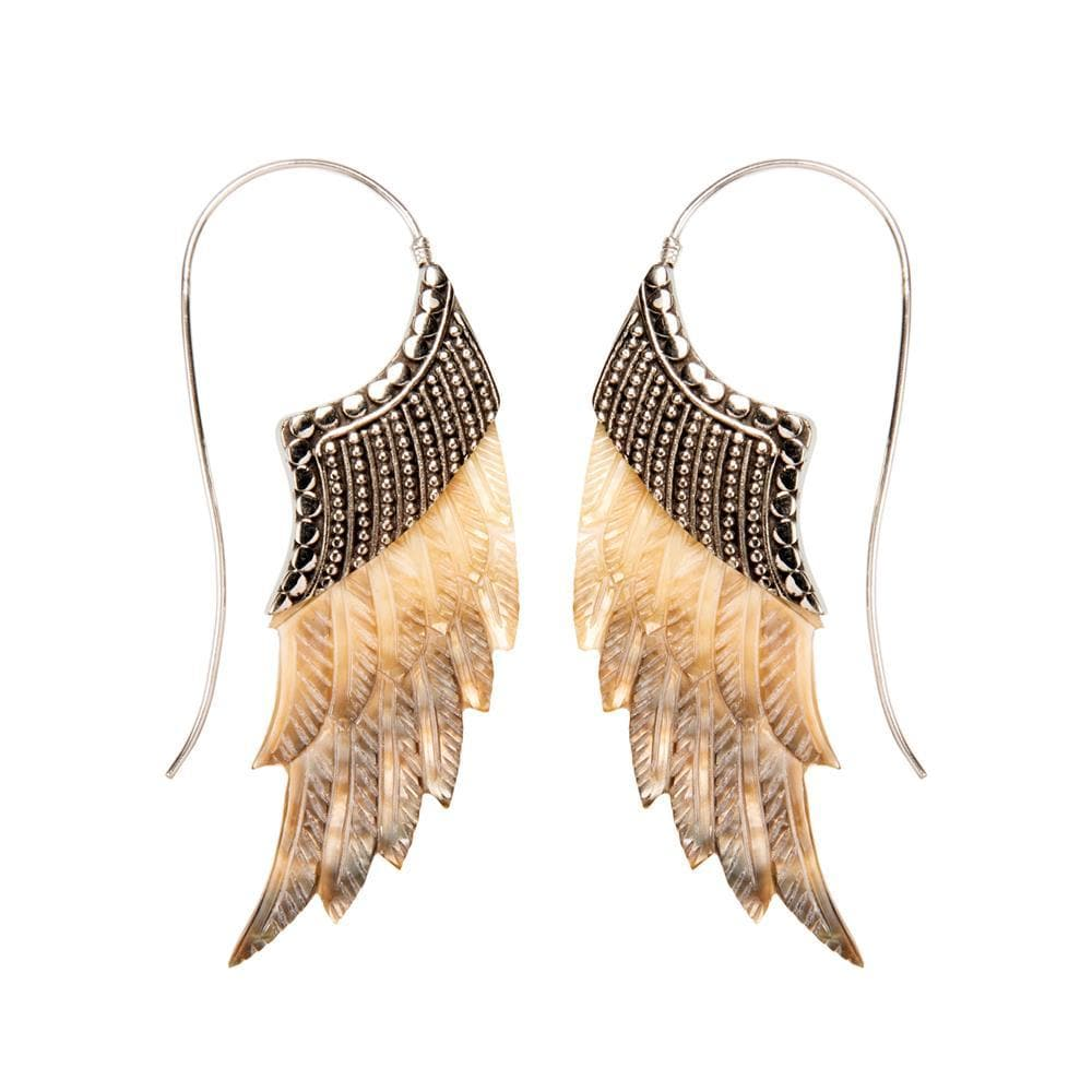 Sterling Silver Mother of Pearl Angel Wing Feather Earrings
