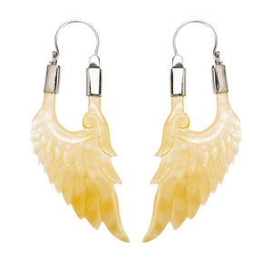Sterling Silver Mother of Pearl Feathered Wing Earrings