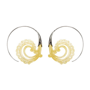 Sterling Silver Mother of Pearl Koru Wave Threader Earrings