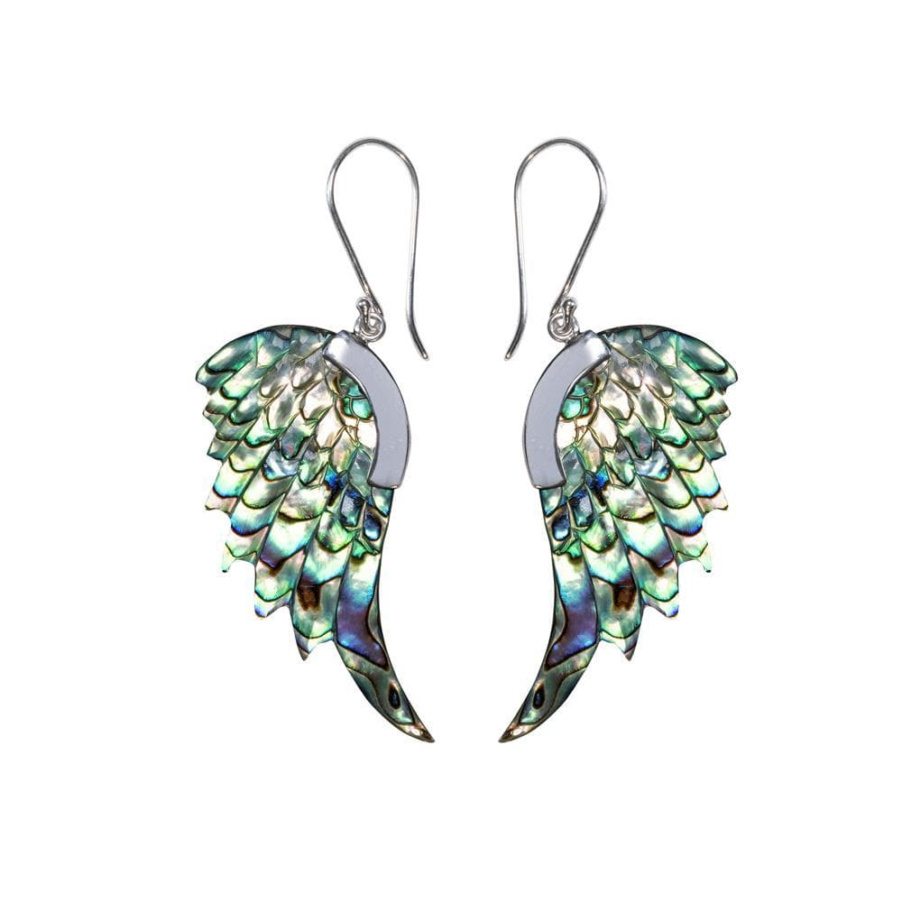 Sterling Silver Abalone Shell Long Angel Wing Earrings