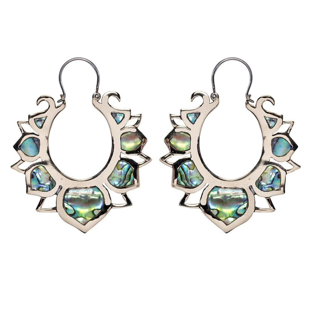 Sterling Silver & Brass Abalone Lotus Flower Earrings
