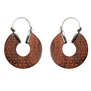 Load image into Gallery viewer, Sterling Silver Wood Mandala Seed of Life Disc Earrings