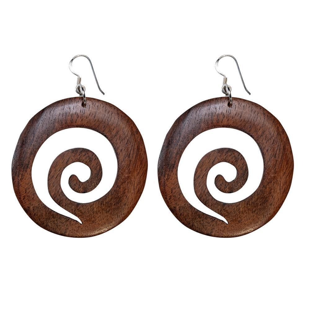 Sterling Silver & Wood Large Round Disc Spiral Earrings