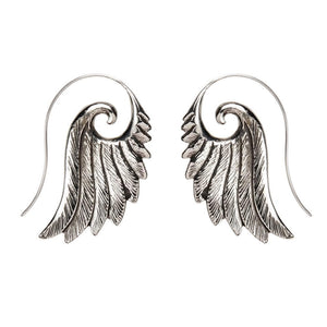 Load image into Gallery viewer, Silver Brass Spiral Eagle Wing Earrings
