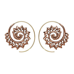 Gold Brass & Copper Ornate Spiral Threader Earrings