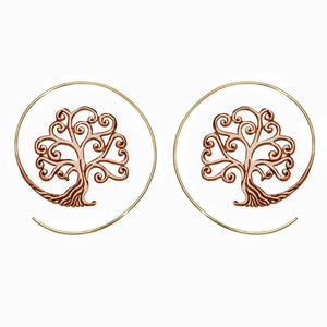 Gold Brass & Copper Swirl Tree of Life Threader Earrings