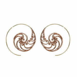 Gold Brass & Copper Ocean Waves Spiral Threader Earrings