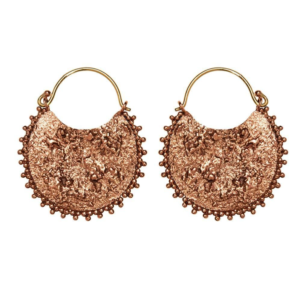 Gold Brass & Copper Antique Style Textured Disc Earrings