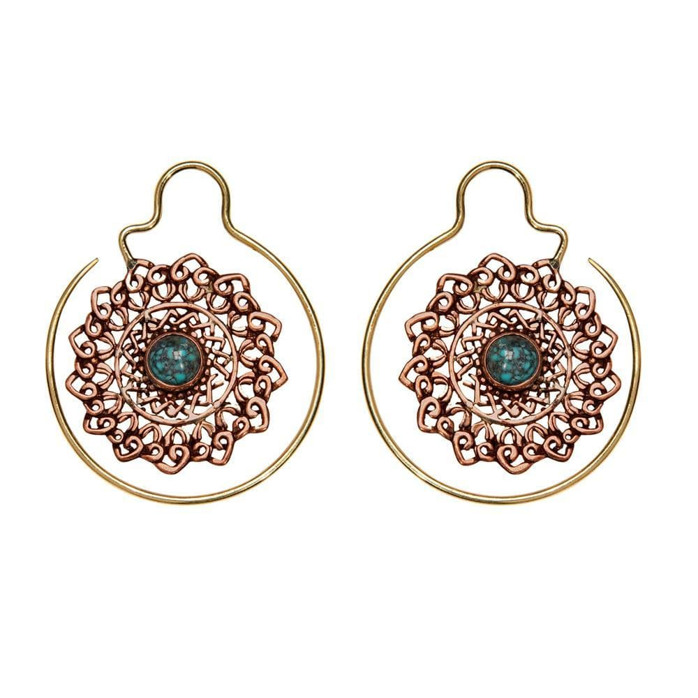 Load image into Gallery viewer, Gold Brass & Copper Turquoise Mandala Threader Earrings
