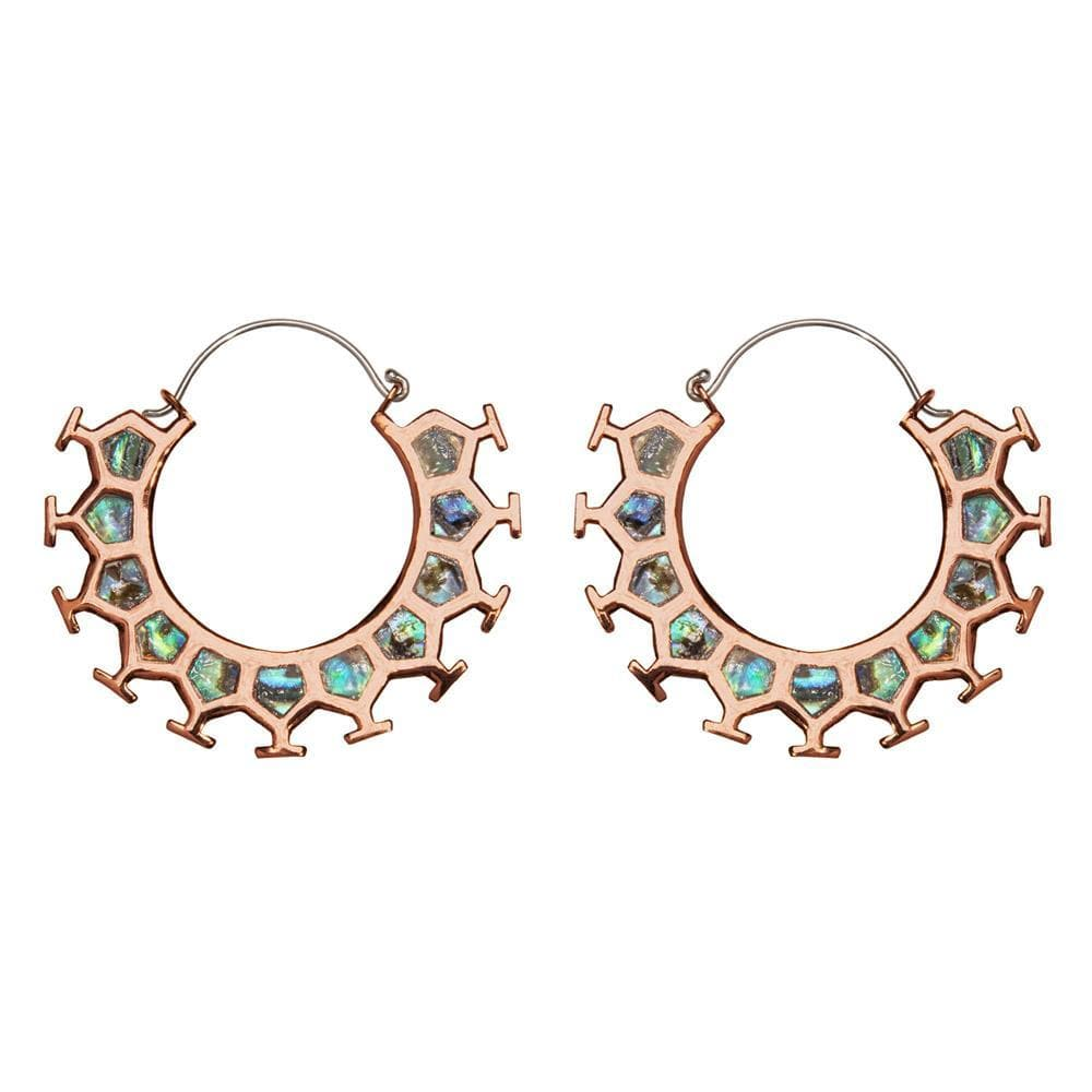 Load image into Gallery viewer, Silver Brass & Copper Abalone Honeycomb Hoop Earrings