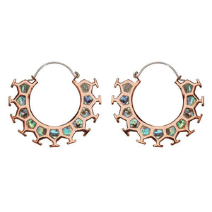 Silver Brass & Copper Abalone Honeycomb Hoop Earrings