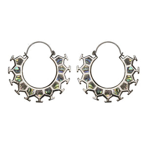 Silver Brass Abalone Honeycomb Hoop Earrings