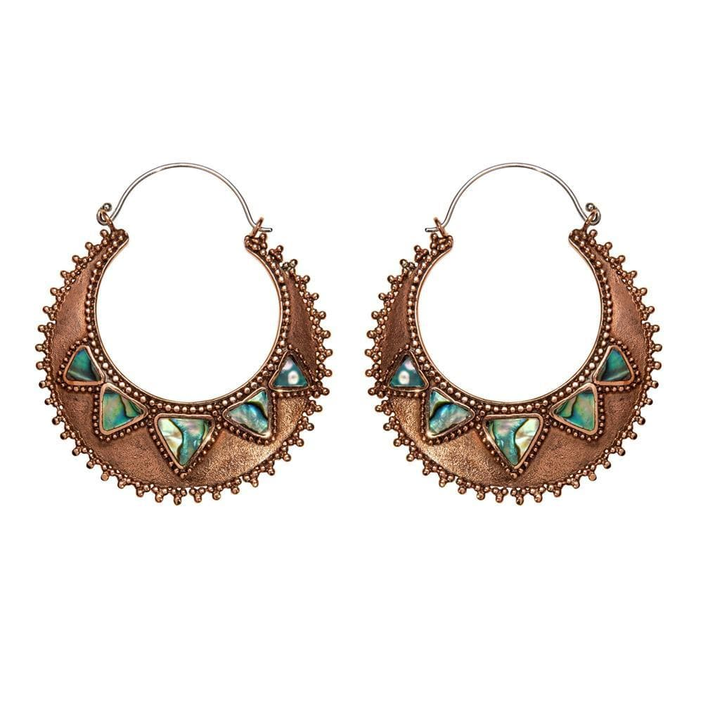 Load image into Gallery viewer, Silver Brass & Copper Abalone Disc Hoop Earrings