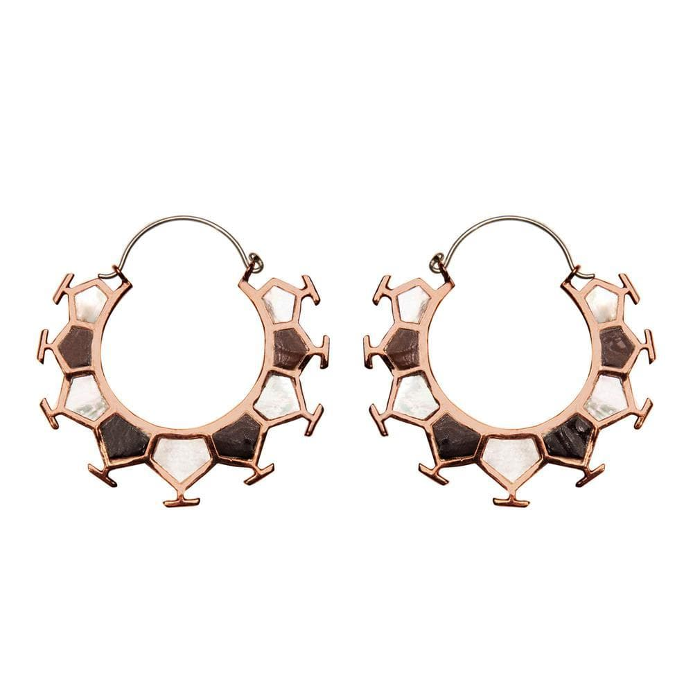 Silver Brass & Copper Mother of Pearl Honeycomb Hoop Earrings
