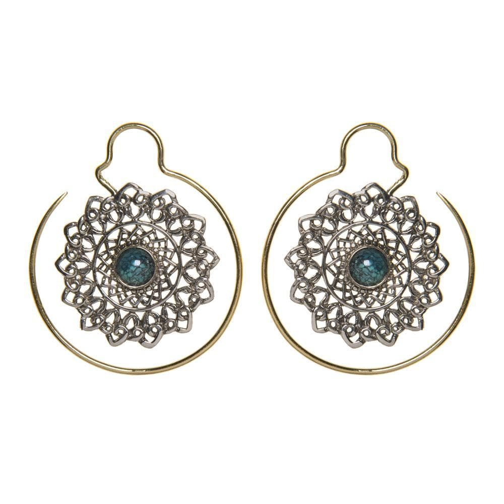 Silver & Gold Brass Turquoise Mandala Threader Earrings