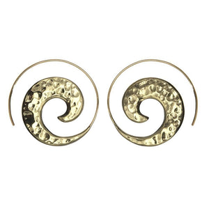 Gold Brass Hammered Spiral Threader Earrings