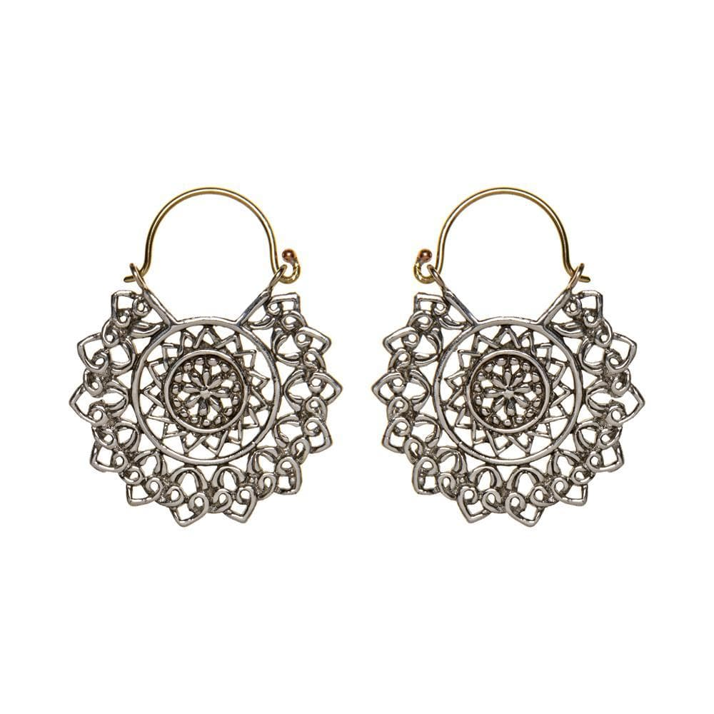 Silver & Gold Brass Mandala Filigree Disc Earrings