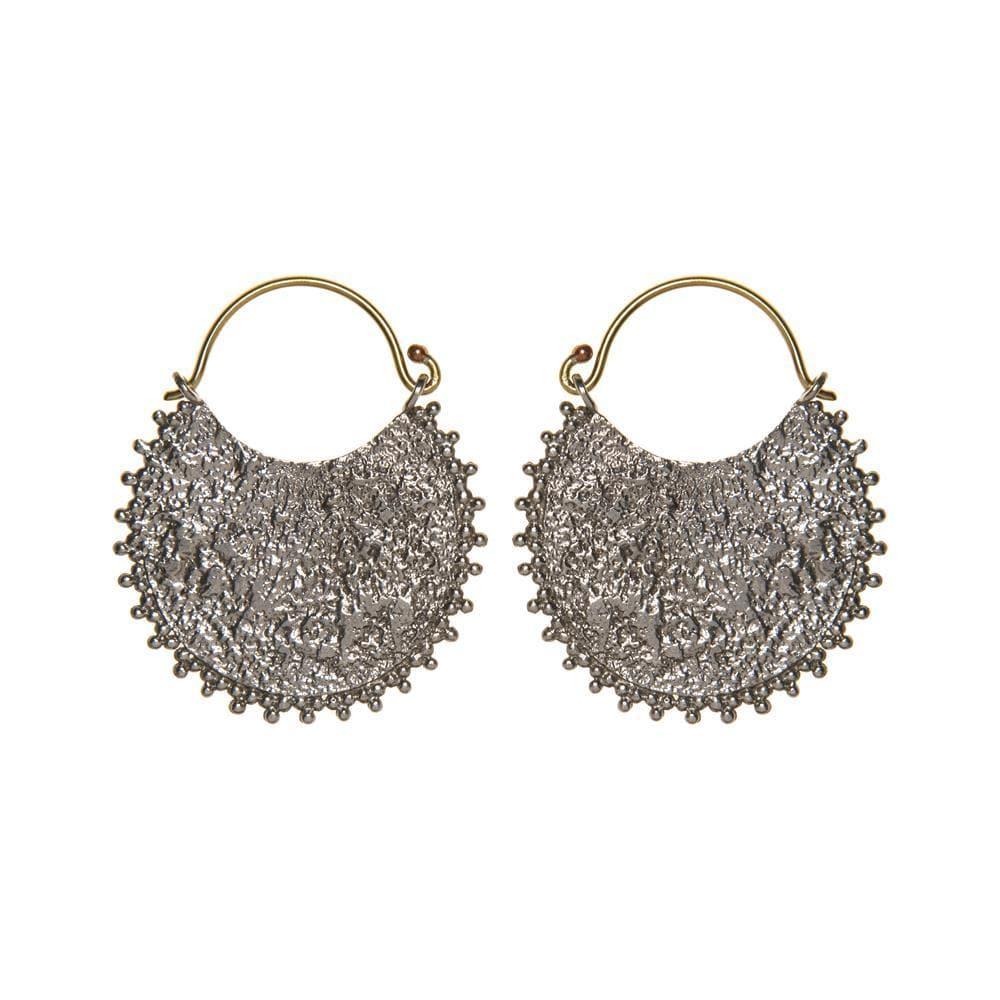 Silver & Gold Brass Antique Style Textured Disc Earrings