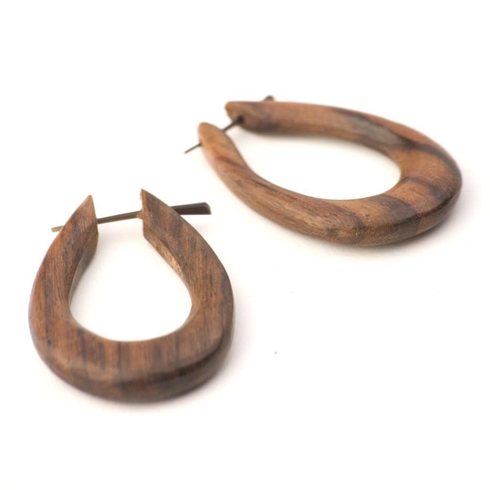 Wood Handmade Oval Teardrop Tribal Dangle Earrings