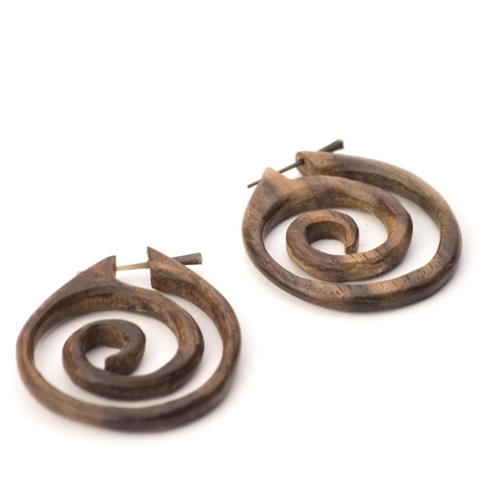 Load image into Gallery viewer, Wood Handmade Round Spiral Tribal Dangle Earrings