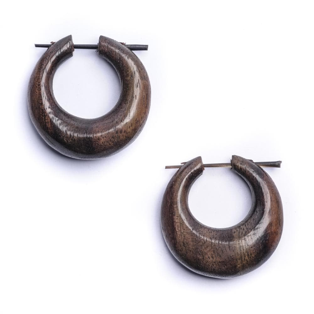 Wood Handmade Round Tribal Dangle Earrings