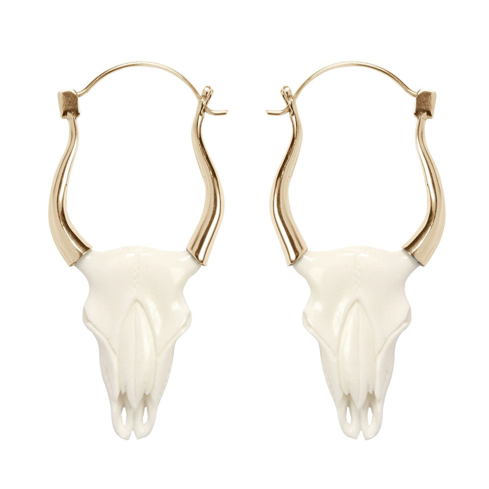 Gold Brass & Bone Buffalo Tribal Skull Earrings