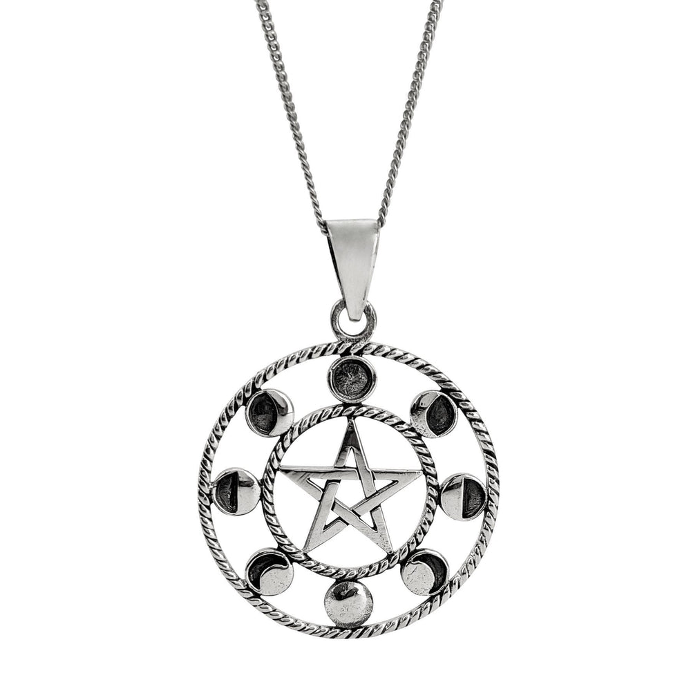 Sterling Silver Moon Phase Pentagram Pendant Necklace