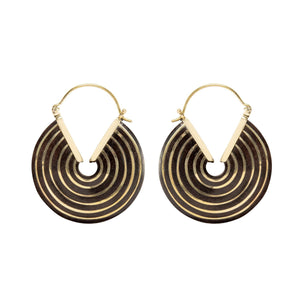 Load image into Gallery viewer, Gold Brass & Wood Tribal Disc Earrings