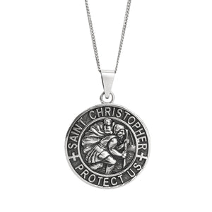 Load image into Gallery viewer, Sterling Silver Large St. Christopher Pendant Necklace