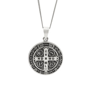 Sterling Silver Large St. Benedict Pendant Necklace