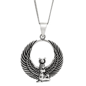 Sterling Silver Egyptian Winged Isis Pendant Necklace