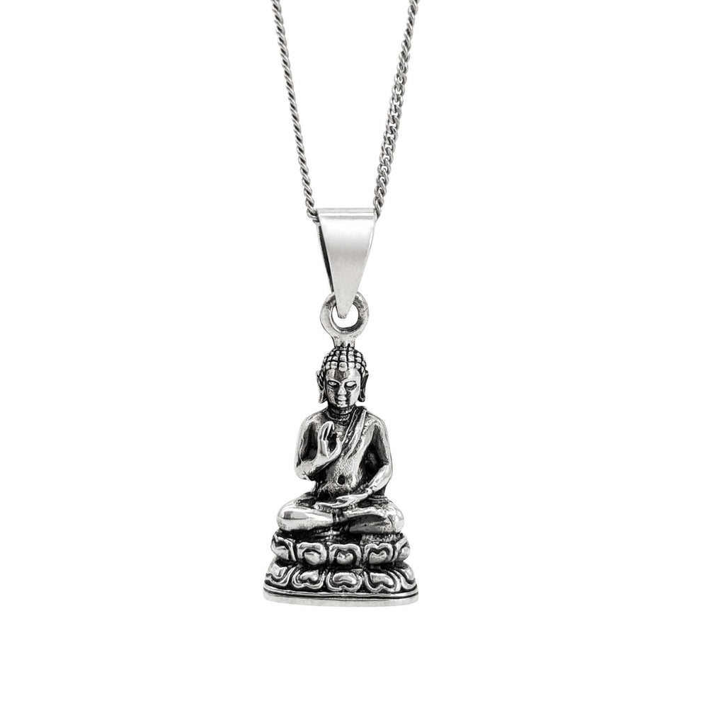 Sterling Silver Protection Buddha Pendant Necklace