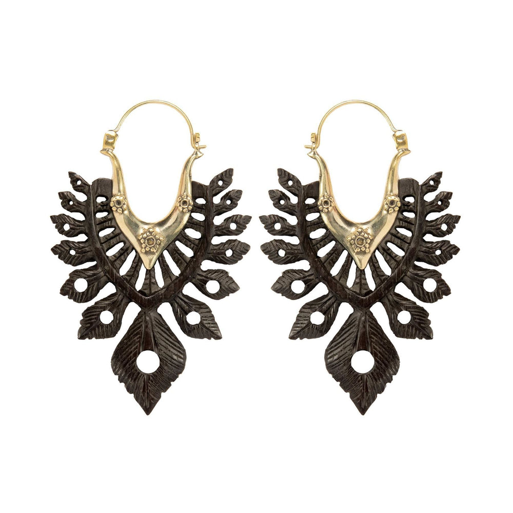 Gold Brass & Wood Tribal Feather Earrings