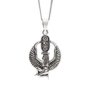 Sterling Silver Kneeling Isis Cartouche Pendant Necklace