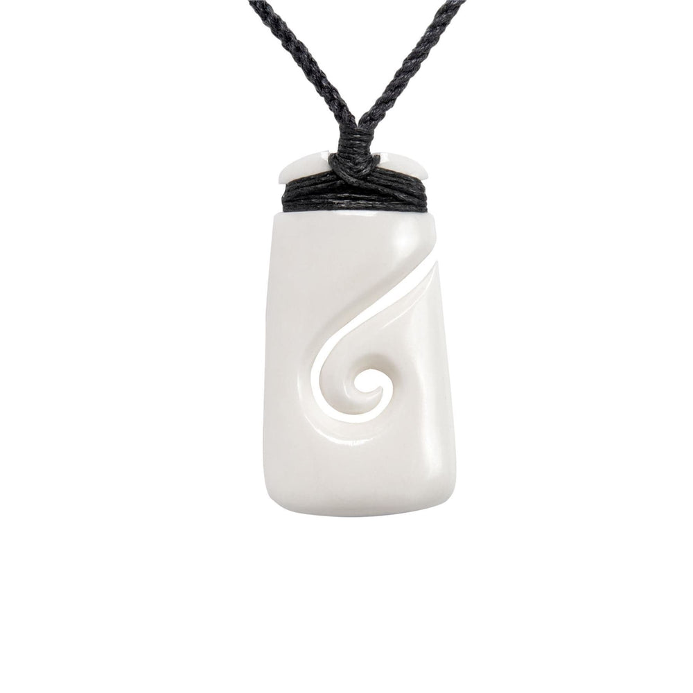 Load image into Gallery viewer, Hand Carved Bone Maori Toki Koru Hei Matau Pendant Necklace
