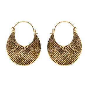 Gold Brass Egyptian Style Geometric Hoop Earrings