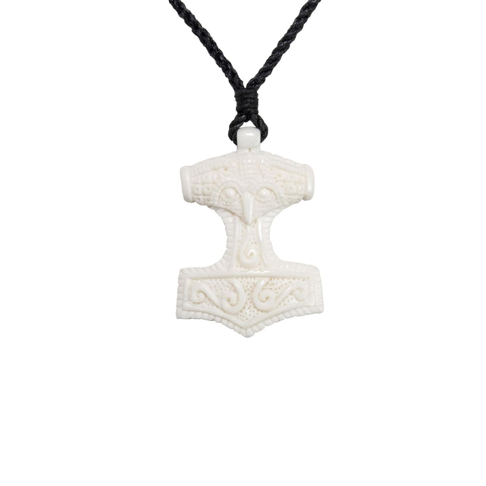 Load image into Gallery viewer, Hand Carved Bone Skane Thor's Hammer Pendant Necklace