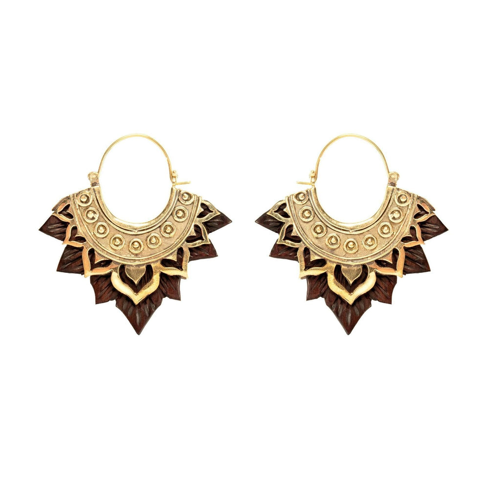 Load image into Gallery viewer, Gold Brass & Wood Lotus Flower Earrings