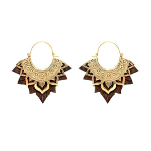 Gold Brass & Wood Lotus Flower Earrings