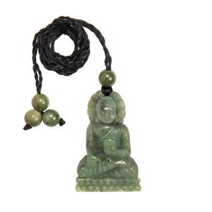 Hand Carved Greenstone Sitting Buddha Pendant Necklace