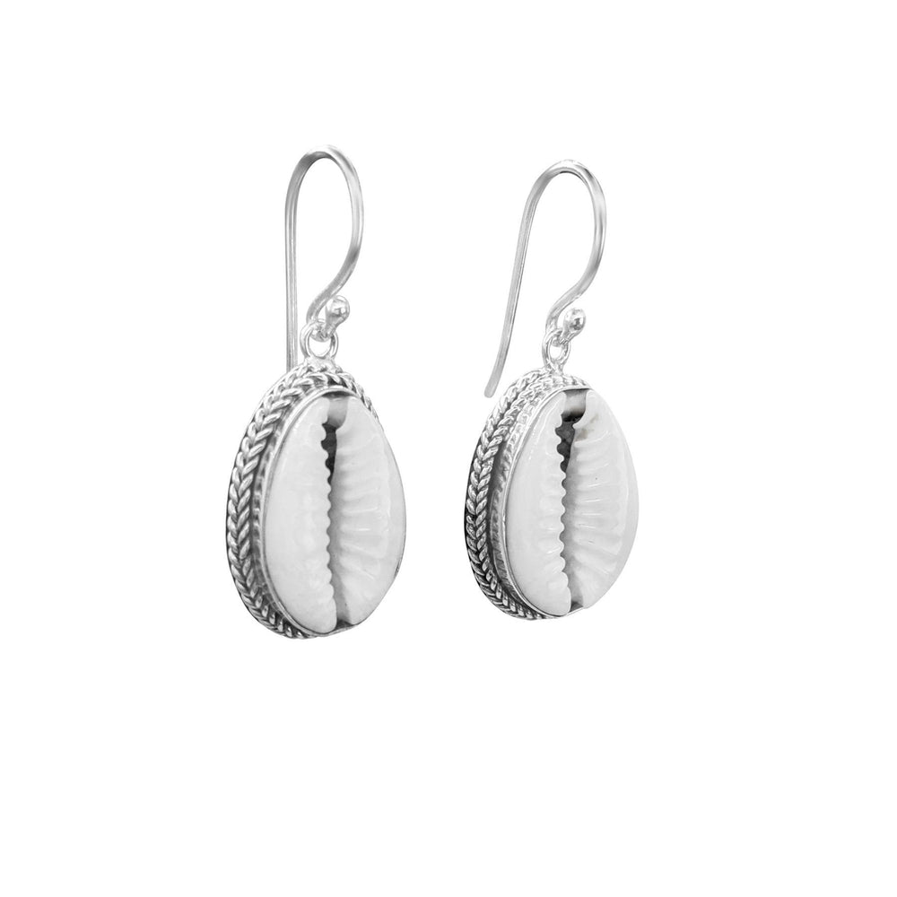 Sterling Silver Cowrie Shell Bohemian Earrings