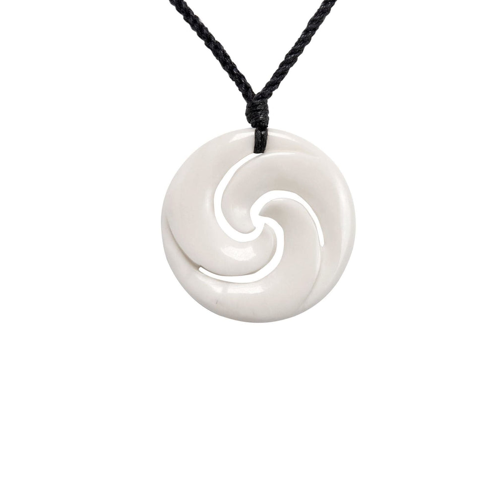 Load image into Gallery viewer, Hand Carved Bone Round Maori Triple Koru Pendant Necklace
