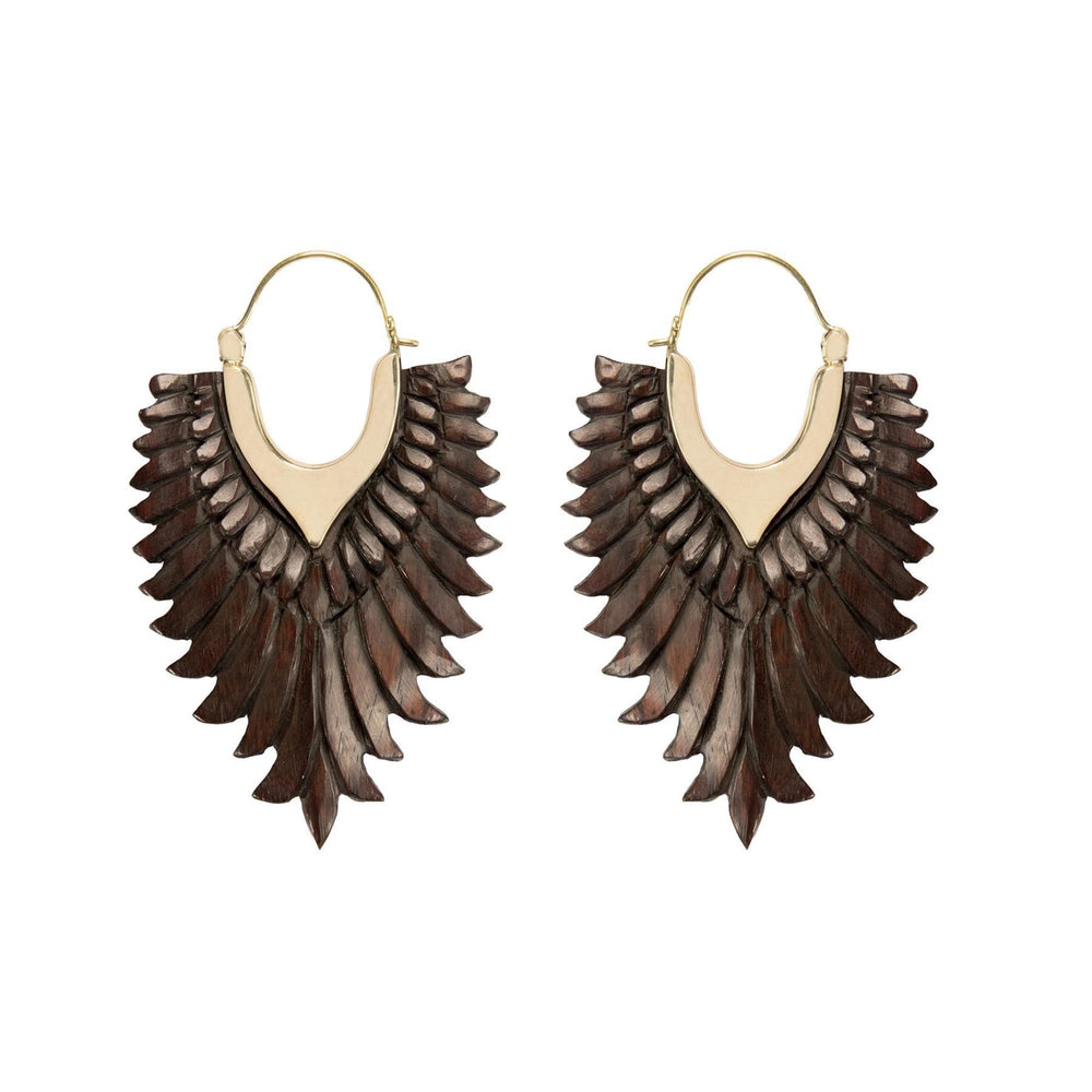 Load image into Gallery viewer, Gold Brass & Wood Eagle Wing Earrings