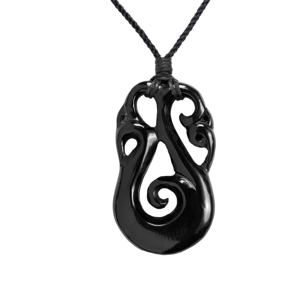 Load image into Gallery viewer, Hand Carved Horn Maori Koru Spiral Pendant Necklace