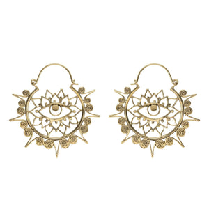 Gold Brass Third Eye Chakra Lotus Hoop Earrings
